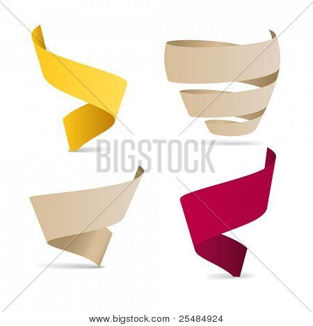 Color origami ribbons. Place your text here