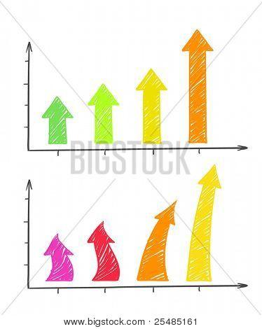Hand-drawn colorful arrows diagram