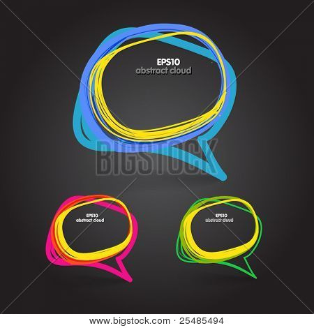 Background of abstract talking bubble on black poster