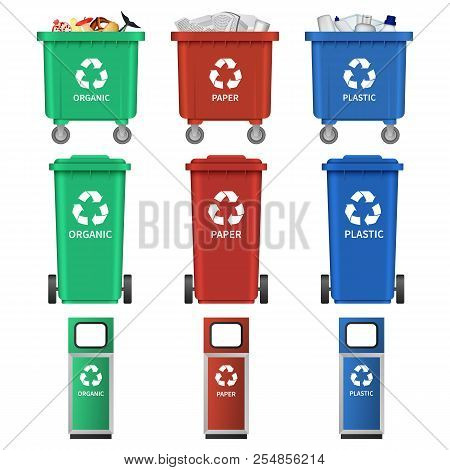 Separation Recycle Bin Waste Trash Icons Set. Realistic Illustration Of 9 Separation Recycle Bin Was