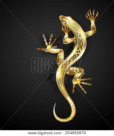 Jeweler, Gold, Patterned Lizard On Black Background.