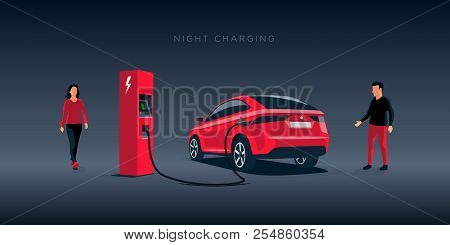 Vector Illustration Of A Luxury Red Electric Car Suv Charging At The Charger Station During Night Ti