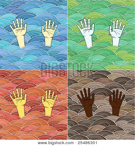 Ð¡urled abstract colorful waves and human hands of different races