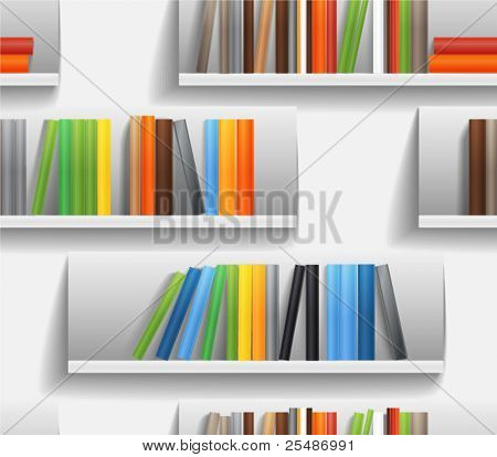 Seamless background of library shelves with color books
