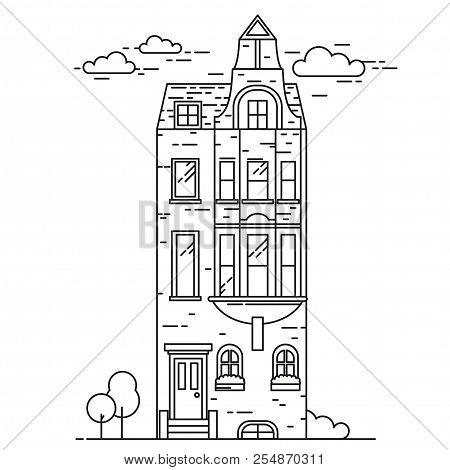 Residential aria of Kensington and Chelsea. Line luxury property London. Landmark and sightseeing britain buildings poster