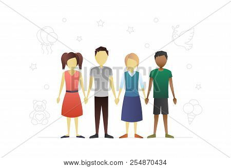 Group Of Children Flat Character Design. Children Protection Day. Teenagers. Grade Schoolers. Intern