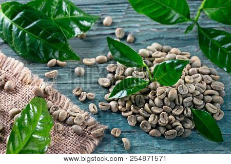 Green coffee beans on a blue background