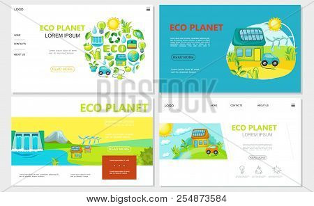Flat Ecology Websites Set With Sun Eco Car House Hydroelectric Station Windmills Sun And Green Ecolo