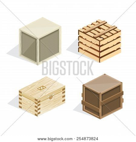 Set Of Realistic Wooden Boxes, Boxes, Packages, Closed With Covers.