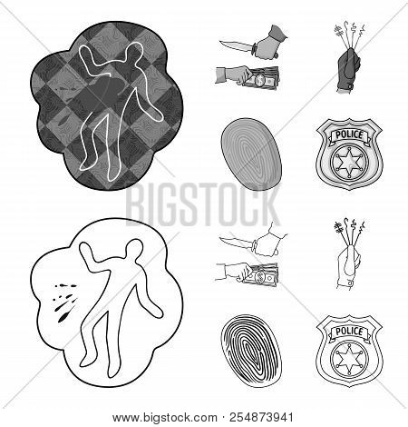Robbery Attack, Fingerprint, Police Officer Badge, Pickpockets.crime Set Collection Icons In Outline