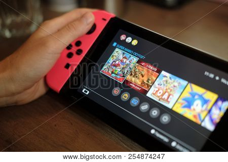 Anapa, Russian Federation - 17 July 2018, Nintendo Switch, Video Game Console For Home Or Portable G