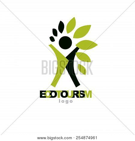 Vector Illustration Of Happy Abstract Individual With Raised Hands Up. Ecotourism Conceptual Logo. E