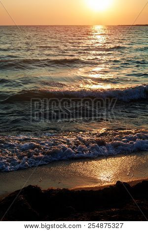 Beautiful Seascape Evening Sunset Sea And Sky Horizon.