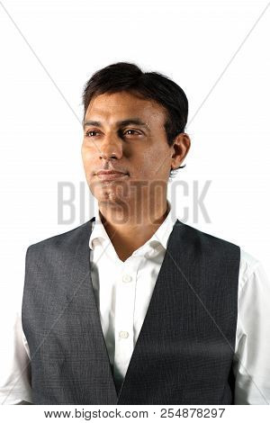 Confident Indian Businessman Isolated On White Background