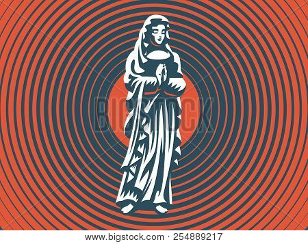 The Holy Virgin Mary With A Halo Above Her Head Prays. Vector Illustration.