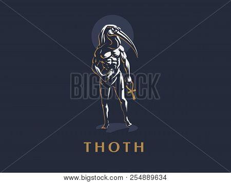 The Egyptian God Thoth. Logo. Vector Illustration.