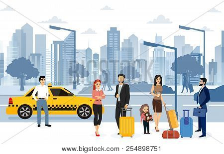 Vector Illustration Of People Waiting Taxi On The Street. Many Passengers Are Waiting For A Taxi In