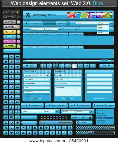 Web design elements blue. Vector illustration