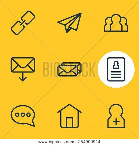 Vector Illustration Of 9 Contact Icons Line Style. Editable Set Of Team, Conversation, Register Acco