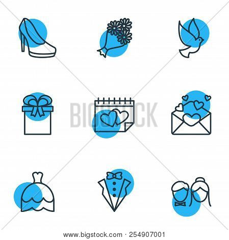 Vector Illustration Of 9 Marriage Icons Line Style. Editable Set Of Gift, Groom Suit, Posy And Other