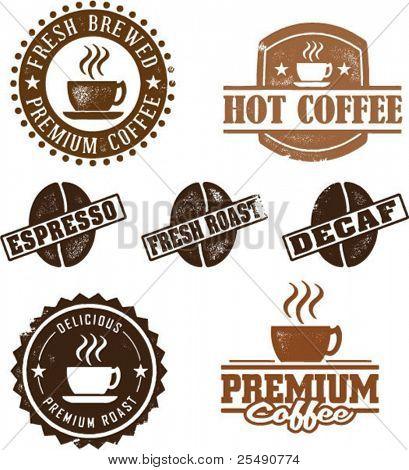 Selos de café de estilo vintage