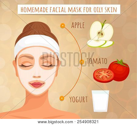 Recipe Masks Made From Natural Ingredients For Oily Skin. Vector Illustration. Home Cosmetics. Skin