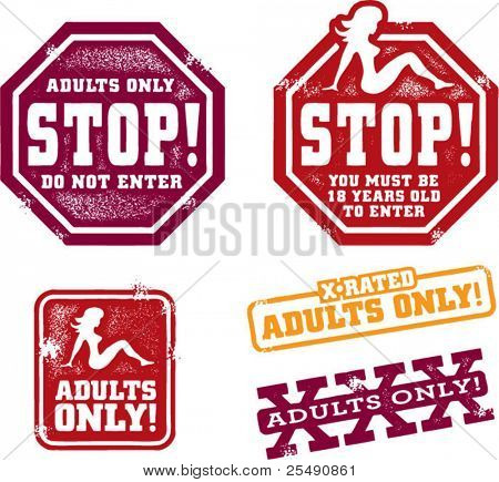 Adults Only Content Stamps