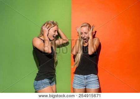 Screaming, Hate, Rage. Crying Emotional Angry Women Screaming On Studio Background. Emotional, Young