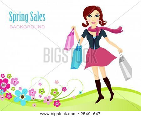 Spring shopping sales background with an elegant lady