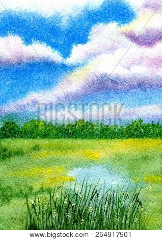Summer Field Landscape. Hand Painted Watercolor Illustration