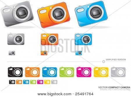Colour vector illustration of a compact camera