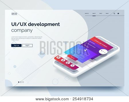 Isometric Conceptual Mobile Phone With Disassembled User Interface. Ui, Ux Development Vector Illust