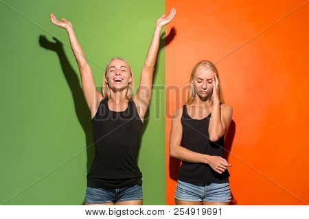 Why Is That. Beautiful Female Half-length Portrait Isolated On Trendy Studio Backgroud. Young Emotio