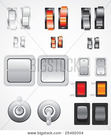 Vector set of realistic switches illustrated