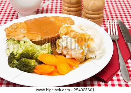 Pie And Mash A Traditional Meal Of Steak Pie And Mashed Potatoes