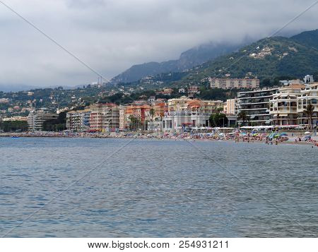 Menton, France - June 30, 2018: Menton Beach And A Panoramic View Of The City. Menton Is A Small Sea