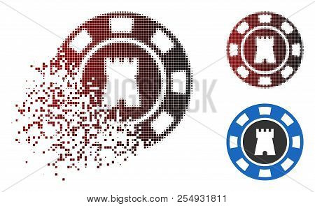 Bulwark Casino Chip Icon In Dissolved, Dotted Halftone And Undamaged Whole Versions. Elements Are Co