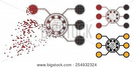 Casino Chip Circuit Icon In Dissolved, Pixelated Halftone And Undamaged Entire Versions. Elements Ar