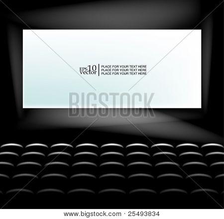 Vector blank cinema screen lighting with seats