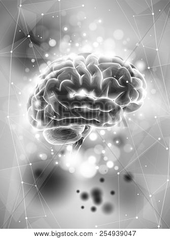 Human brain on a gray technological background surrounded by information fields, neural networks, Internet webs - the concept of modern technology, biotechnology, artificial intelligence