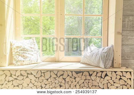 White Curtain Window And Wood Window Frame, Abstract Green From Garden With Sunlight .for Montage Pr