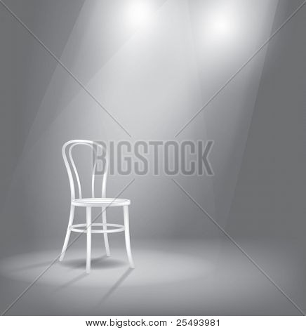 Vector stage with white chair in spotlights