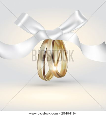 Vector golden wedding rings with ribbon