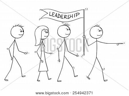 Cartoon Stick Drawing Conceptual Illustration Of Leader With Leadership Flag Leading A Team Of Busin