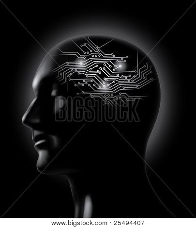 Brainstorm:brain circuit board concept.Raster version