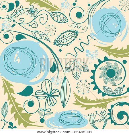 Floral pattern with dandelion motif