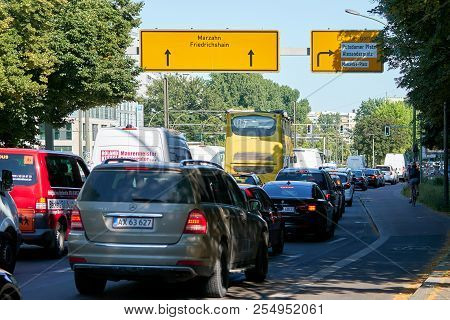 Berlin, Germany - June 07, 2018: Road Traffic At Rush Hour In The City Center Of Berlin