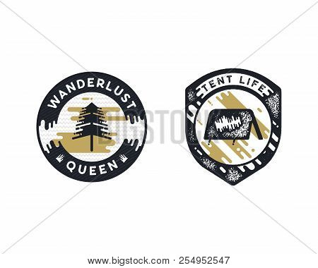 Vintage Hand Drawn Adventure Themed Retro Badges. Wanderlust Logos Are Perfect For T-shirts, Mugs, P