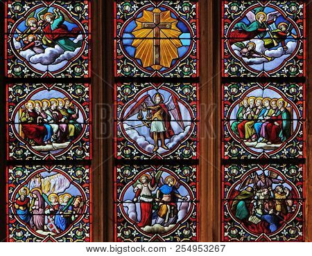 PARIS, FRANCE - JANUARY 11: Last Judgment, stained glass window in Church of Saint Leu Saint Gilles in Paris, France on January 11, 2018.