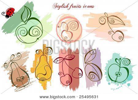Stylish fruits icons